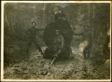 Early Kalama-area loggers with steam donkey, circa 1900-1909