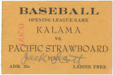 Baseball ticket for Kalama baseball game, Kalama, Washington, circa 1922-1949