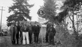 Kalama, Washington Lions Club members gathered by new roadside sign, circa 1930-1935