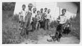 Cloverdale school children playing baseball, Kalama, Washington, circa 1948-1955