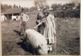 Children and Petunia on the Wilson Farm, Kalama, Washington, circa 1948-1955
