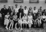 Lopez Island High School students and teacher, 1940
