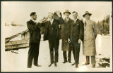 Bellingham gentlemen visit the Nesset Farm for a drink, circa 1930