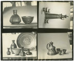 Contact sheet of images of Louis Mideke's pottery on display
