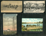 Album page of 4 postcards of Fairbanks, Alaska