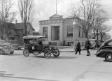 Car parade in front of Ritzville Public Library, Ritzville, Washington, March 5, 1937